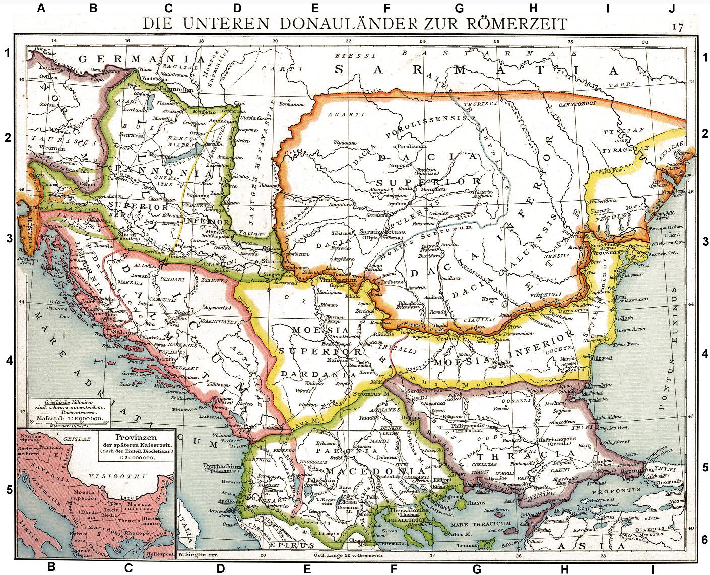 Roman provinces of Illyricum Macedonia Dacia Moesia Pannonia and Thracia